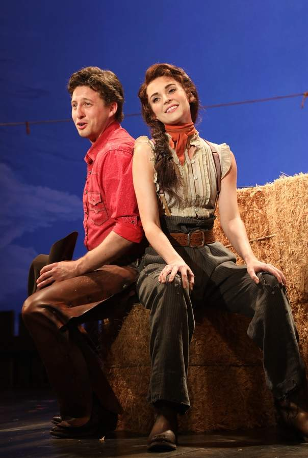 Laurey (Samantha Bruce) and Curly (Rhett Guter) in Oklahoma! at The Goodspeed. Photo by Diane Sobolewski