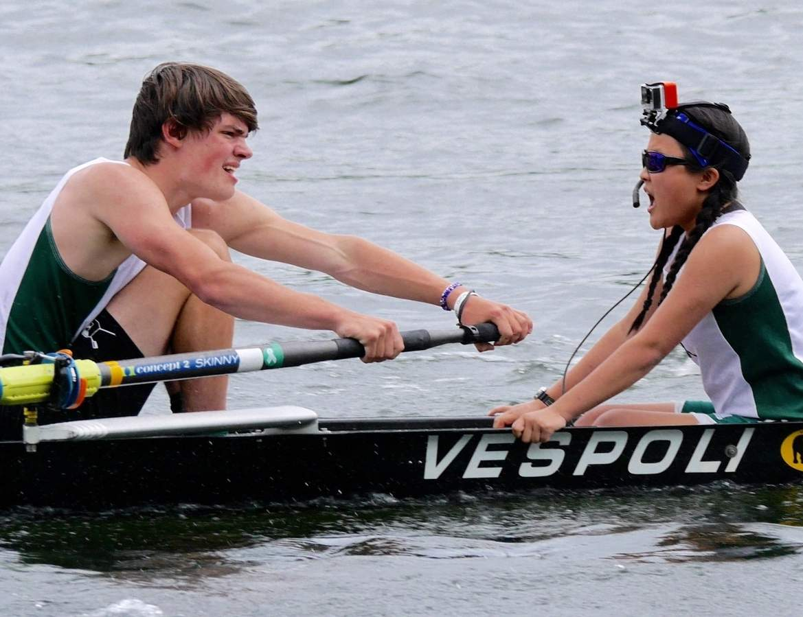 Rowing is on the rise in the state of Connecticut. Leo Freund and Ainsley Mackenzie are rowers who compete for the Guilford High School crew, which featured 88 athletes on its roster in the 2017 spring season.  Photo courtesy of Jean Bachman