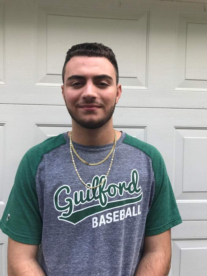 Kam Miles hit .327, while playing first base, third base, left field, and right field for the Guilford Senior Legion baseball team this summer. Now, Kam gets ready for his senior year at Guilford High School, where he's a member of the Indians' baseball squad.  Photo courtesy of Kam Miles