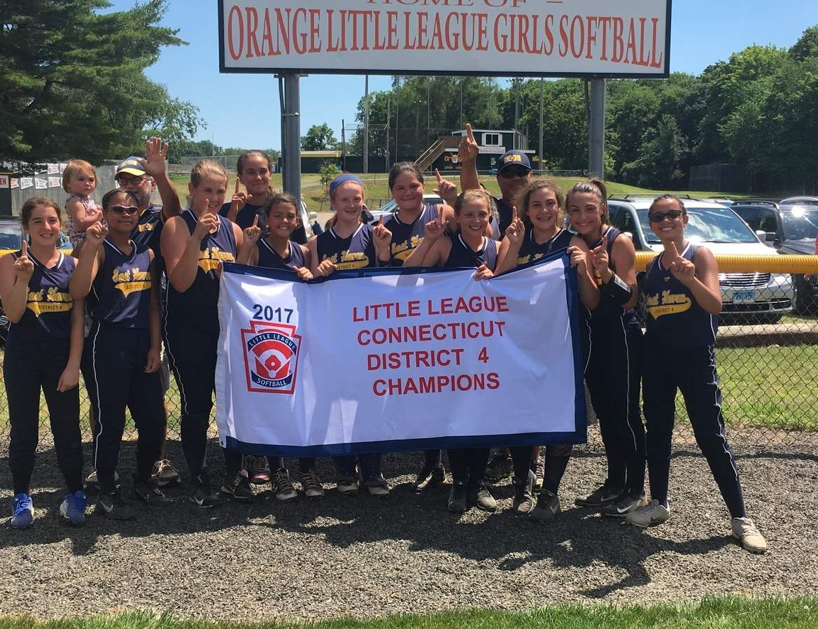 Pictured from the East Haven Little League 10-12 softball squad are Abby Christman, Arielle Dupree, Autumn Clancy, Jilien Ayala, Magdalena Barthel, Gianna Bernovich, Adriana Franceschi, Kayla Stefania, Emilee Bishop, and Juliana Lovino; along with (back row) coaches Rich Celone and Brooke Clancy, plus Manager Tom Ayala. Photo courtesy of Jeremiah Stewart
