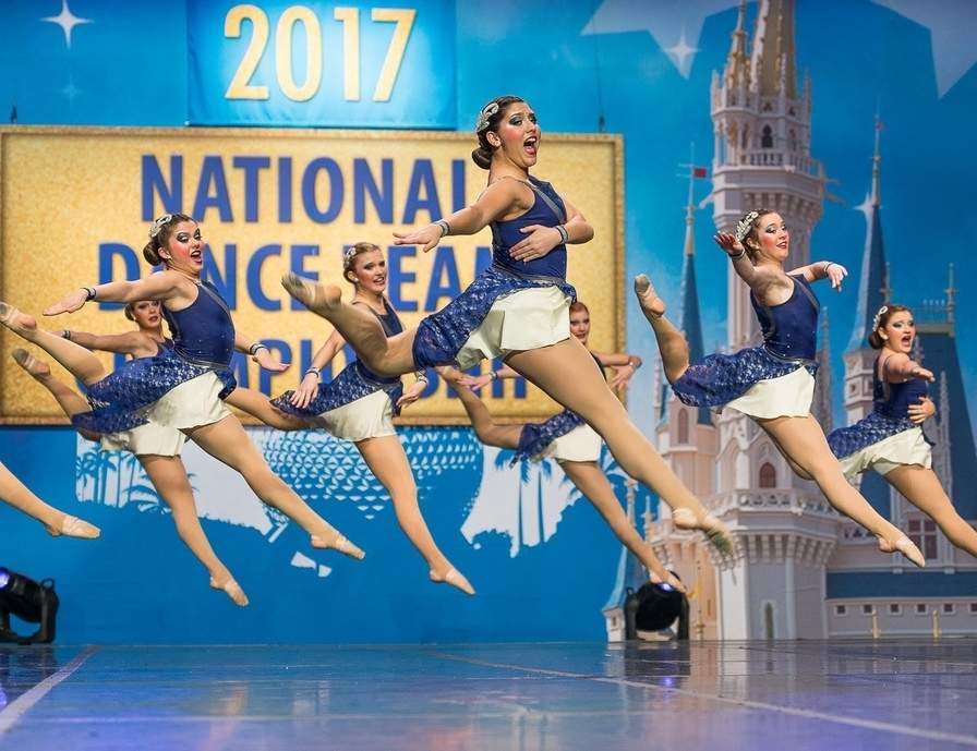 The Branford High School varsity dance team performs its jazz routine at the Universal Dance Association National Dance Team Championship in Orlando, Florida. Along with the Hornets, there are several studios in the area who are seeing success in competitive dance, a sport that's gaining steam around the world. From left to right are Casey Allen, Lily Milici, Lauren Driscoll, Jenna Juliano, Chloe Lourenco-Lang, and Bella Petrosino. Photo courtesy of Bruce Pantani