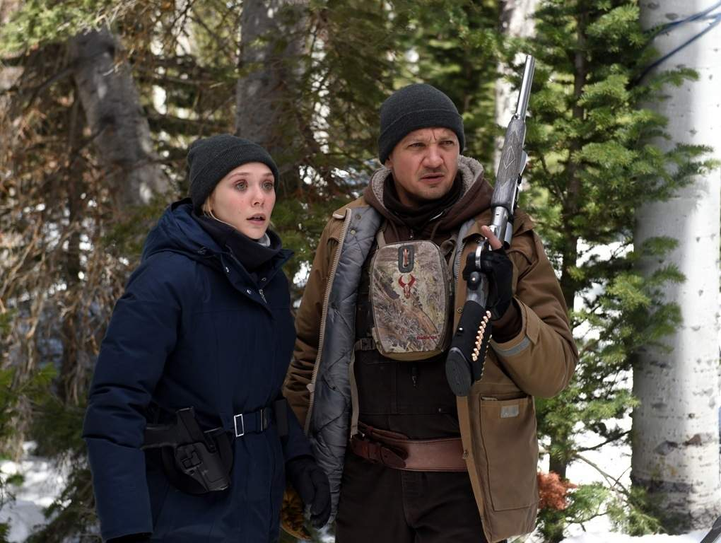 Jane Banner (Elizabeth Olsen) and Cory Lambert (Jeremy Renner) search the stark terrain for clues to a young woman's rape and murder in the thriller, Wind River. (Photograph copyright IndieWire)