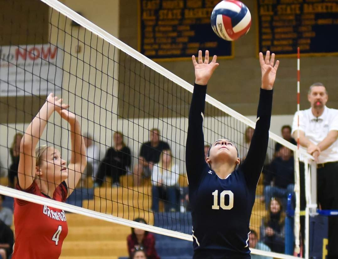 Isabella Ragaini and the East Haven volleyball squad began their season by netting a 3-0 shutout over Haddam-Killingworth on Sept. 8. Photo by Kelley Fryer/The Courier