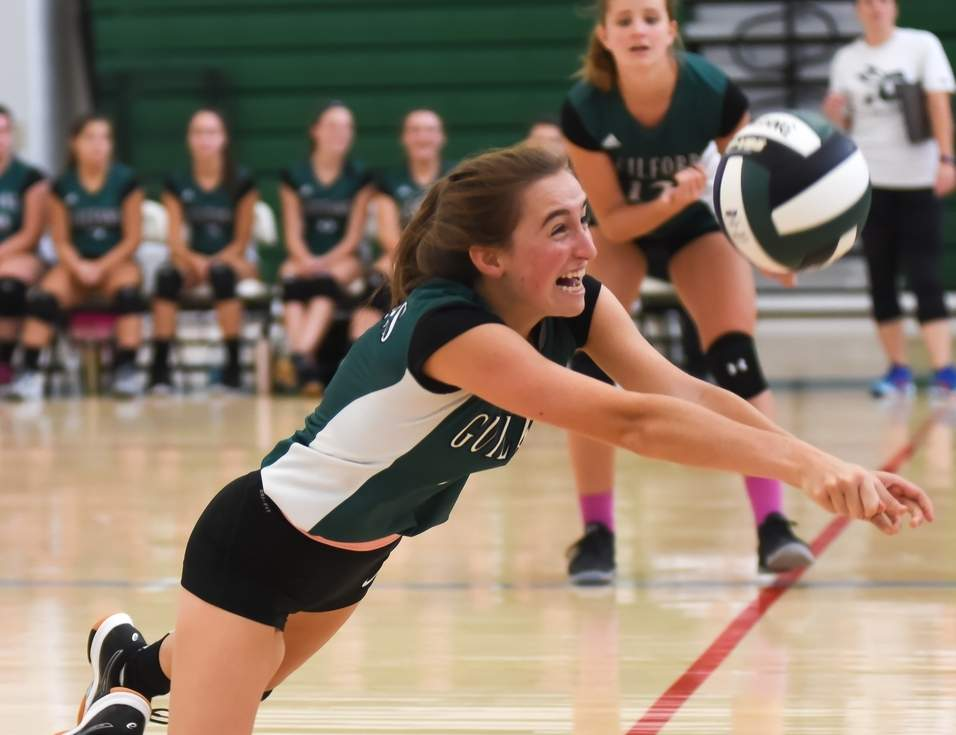 Senior co-captain setter Julia Hyman is providing veteran leadership for this fall for the Guilford volleyball squad, which is looking to build on a pair of postseason berths from a year ago. Photo by Kelley Fryer/The Courier