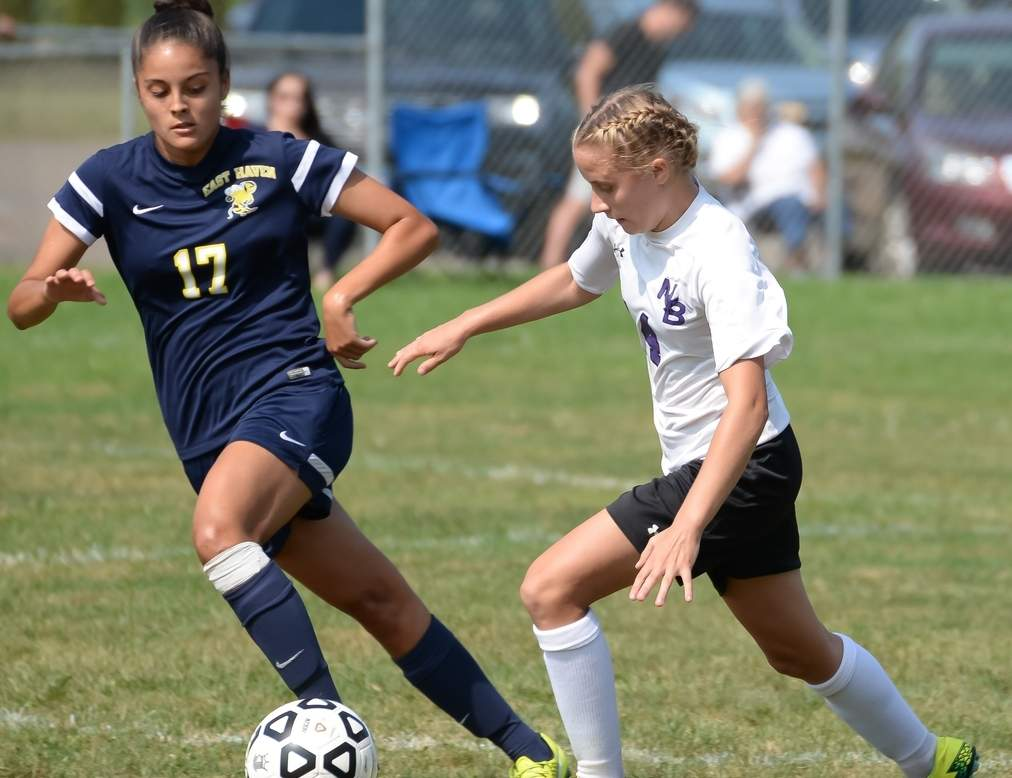 Ali Szewc is proving herself as a leader on defense for the East Haven girls' soccer squad, which opened up a new chapter with first-year Head Coach Jake Hackett last week. Photo by Kelley Fryer/The Courier