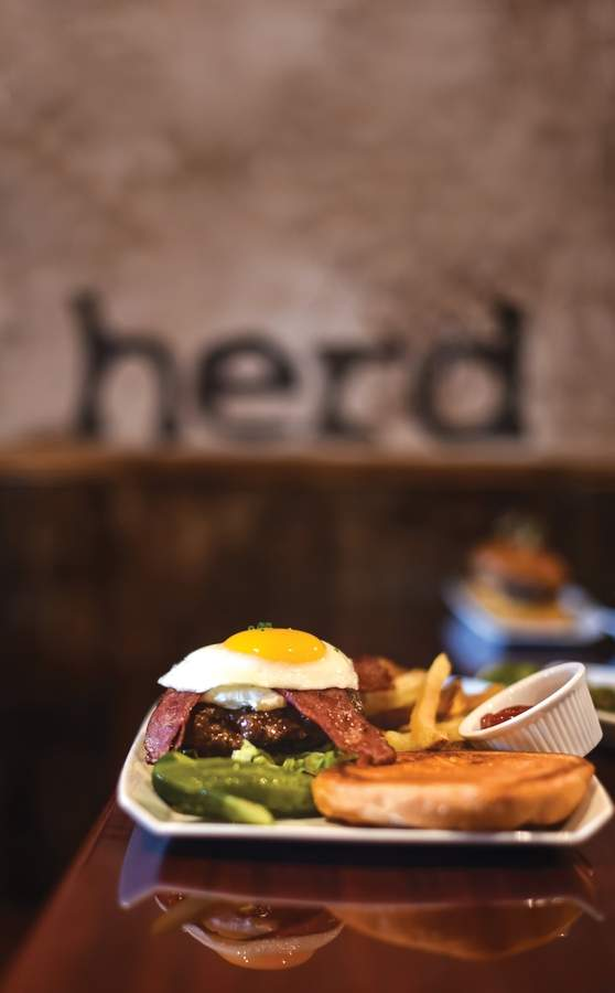 Herd: The Heart A-Quack Burger  Certified Angus Beef patty, House smoked Ricotta cheese, Duck Bacon, Local Egg