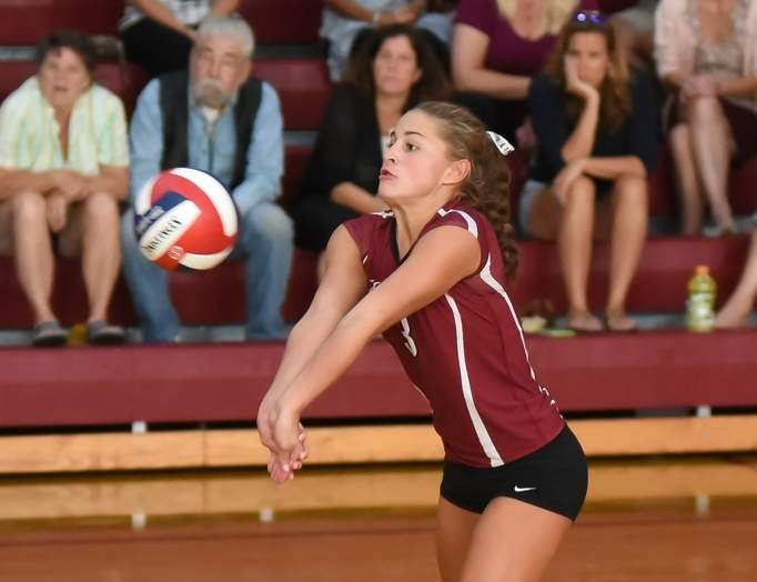 Senior captain Jessica Paholski lit it up for the Valley volleyball team last week by netting a combined 33 kills and 14 aces in wins against East Hampton, Creed, and rival Hale-Ray. Photo by Kelley Fryer/The Courier