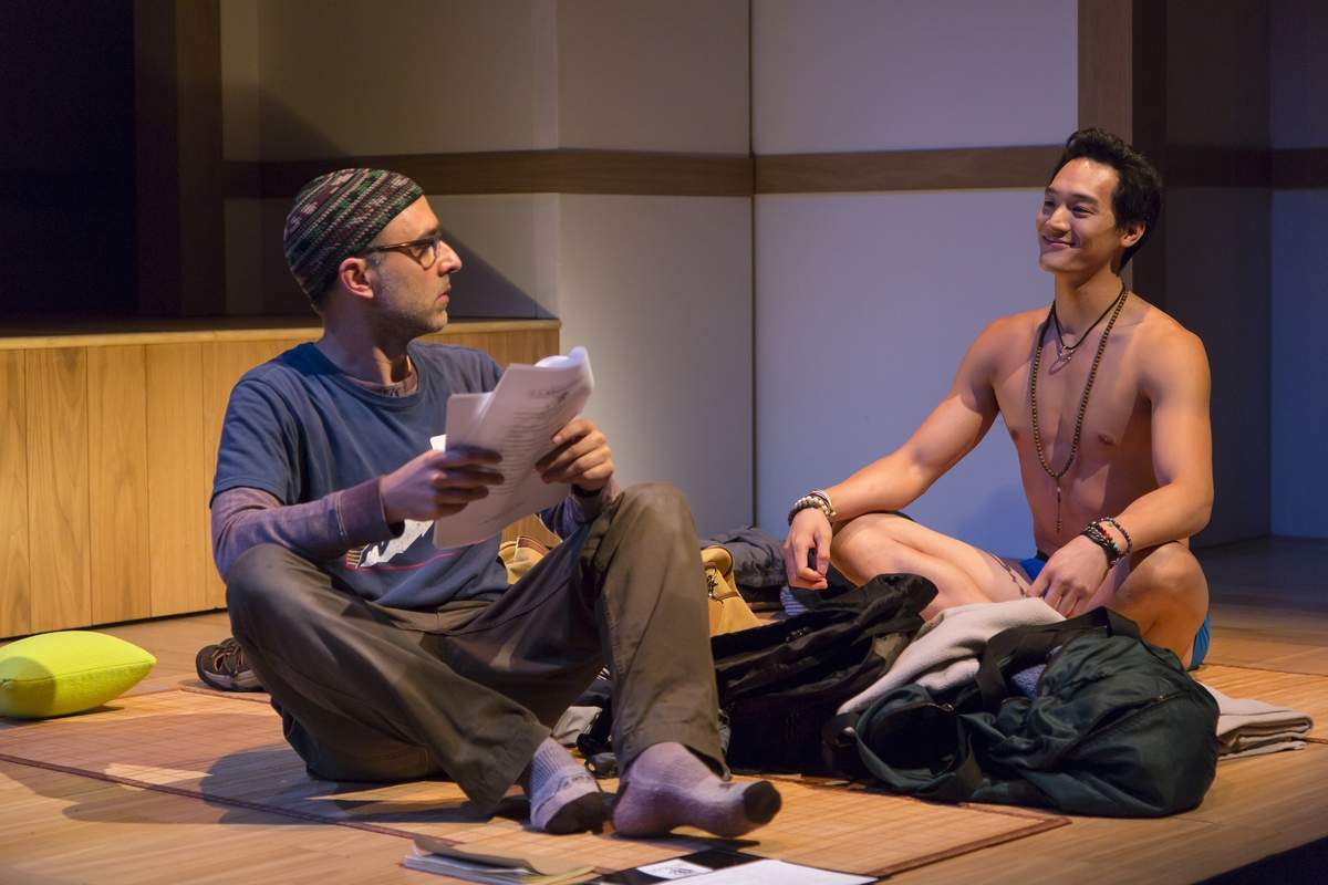 Ben Beckley as Ned and Edward Chin-Lyn as Rodney in Small Mouth Sounds at Long Wharf Theatre. Photo by T Charles Erickson