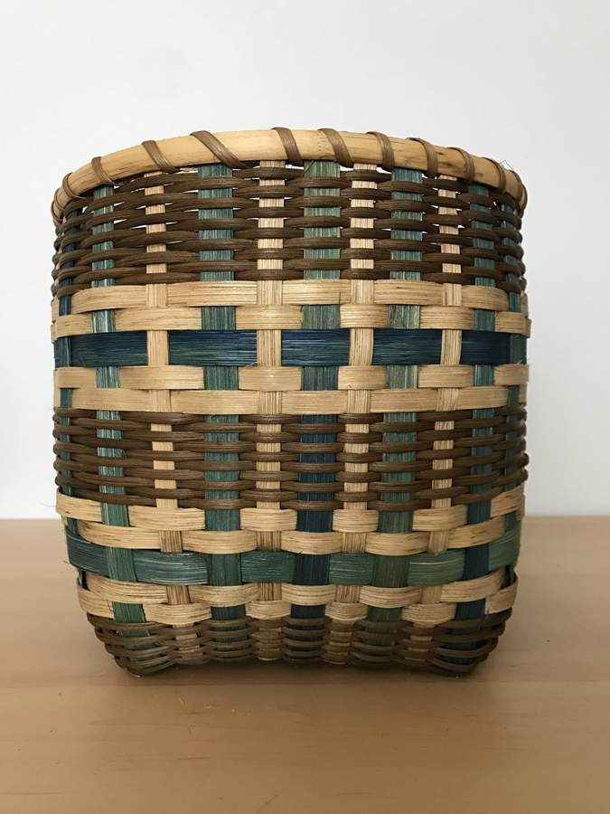 Woven Ocean Basket, hand-dyed reed & braided seagrass,11h x 10w, Jennifer Misseri