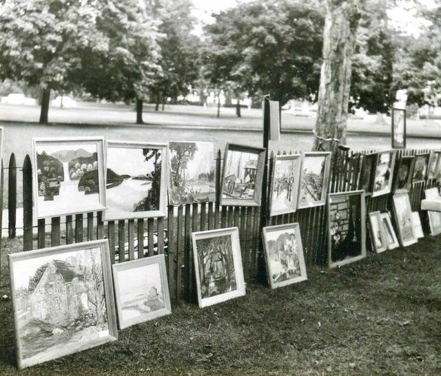 This undated photo shows the humble beginnings of the Guilford Art League annual show. Photo courtesy of the Guilford Art League