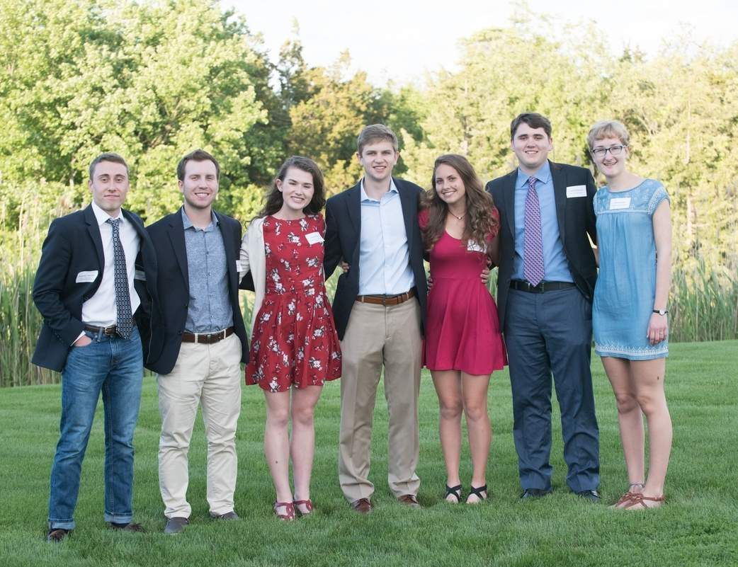 From right are Guilford Foundation scholarship winners Thomas Wiesler, Zachary Rodes, Olivia Mirek, Jordan Krause, Claire Dinauer, Luke McNamara, and Emily Nolan. Photo courtesy of Liza Petra