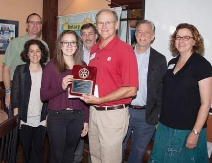 From left are Paula, William, and Alanna Grimm; John Mooney; Branford Rotary President Hap Storer; Committee Chair Tony Terry; and Karen Jensen. Missing from the photo are Alpha Coiro and Mary Donaruma. Photo courtesy of Alpha Coiro