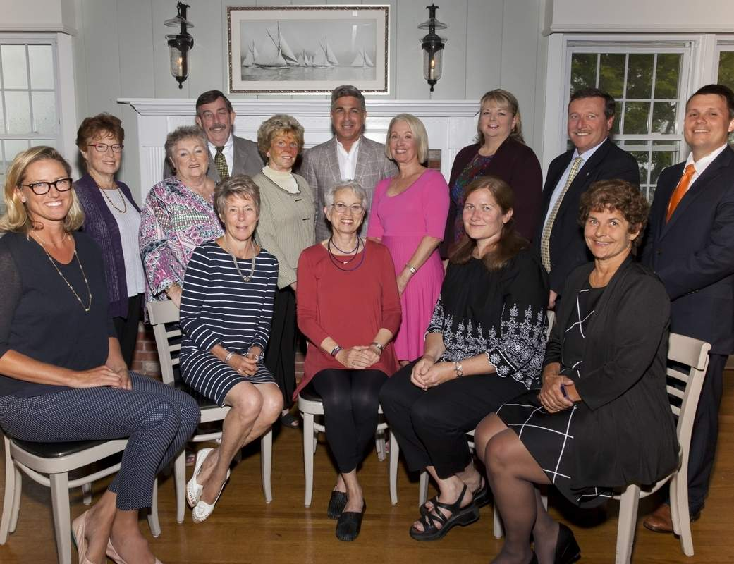 Branford Community Foundation Board is, from left (seated) Executive Director Liza Janssen Petra, Vice Chair Janet Ryan, Chair Stephanie Farber, Patricia Bloomquist, and Treasurer Heather Hackley; and (standing) Rita Berkson, Kathleen Fox, John Mooney, Eunice Lasala, Mark Serchuck, Melodie Lane O'Connor, Stephanie Donegan Dietz, James Perito, and Logan Reed. Photo by Tricia Bohan Photography