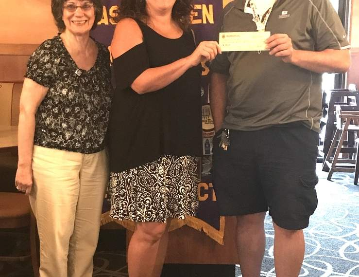 From left are Lions Club Treasurer Fran Burton, Kristin Cafferty, and Lions Club President Peter Marinelli. Photo courtesy of Magdalen Sparaco