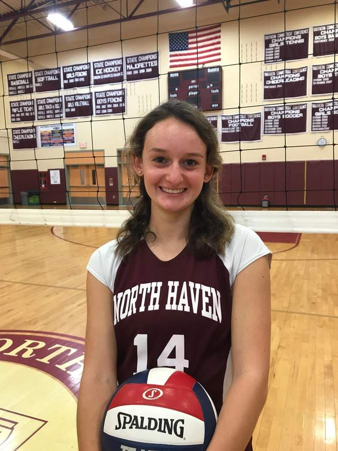 Olivia Petersen is taking on some big roles with the North Haven volleyball team as both the setter and a junior captain for the Indians this fall. Olivia is also a member of the North Haven softball program and batted .379 as the Indians' left fielder last spring.  Photo courtesy of Olivia Petersen