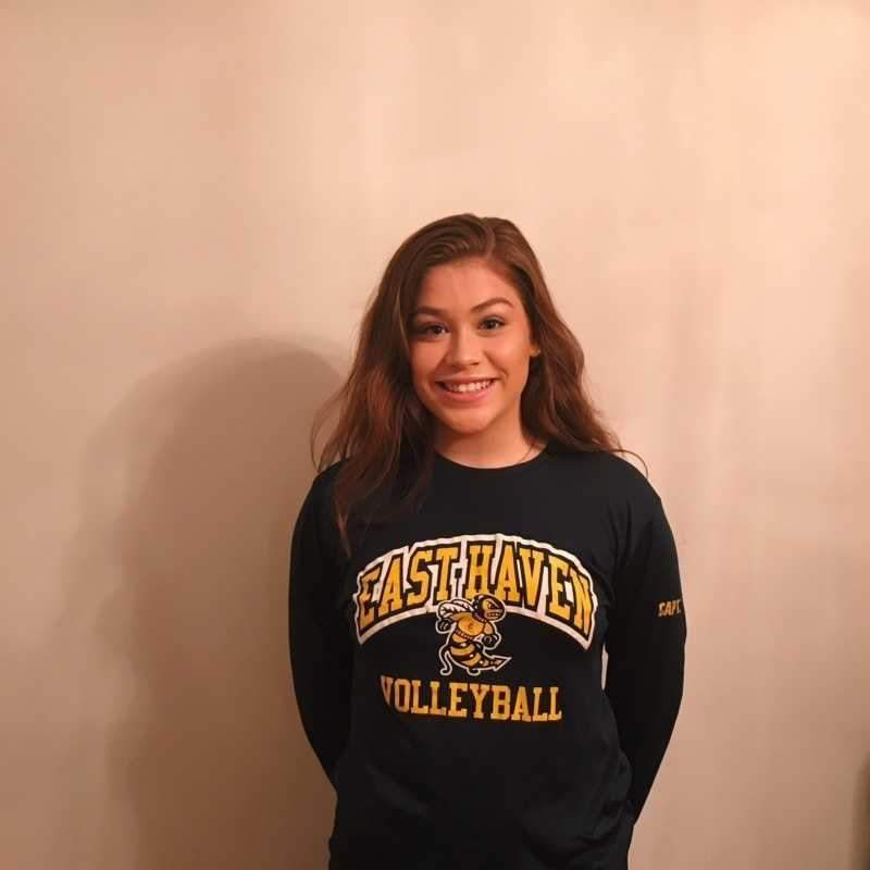 Senior captain outside hitter Summer Onorato is racking up the stats for the 6-1 East Haven volleyball team this fall. Photo courtesy of Summer Onorato