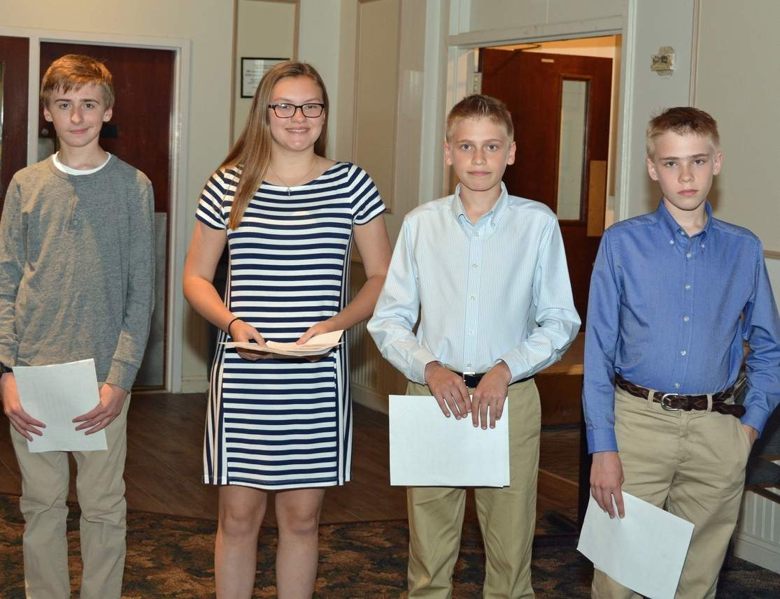 The Westbrook Elks Lodge Americanism essay contest winners are Camden Clark, Emma Parkhurst, Garth Whitehouse, and Cooper Whitehouse. Photo by Richard Siedzik