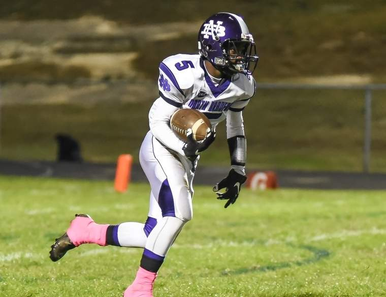 Charles Walcott scored the first touchdown of the game when the North Branford football team routed Morgan by a 41-2 score at Colafati Field on Sept. 28. The Thunderbirds improved to 3-1 with the victory. Photo by Kelley Fryer/The Sound