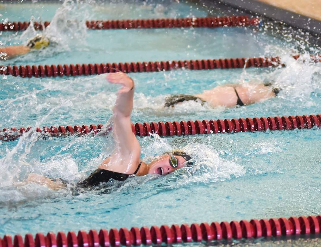 Senior co-captain Allie Mascia and the Hand girls' swimming and diving team are 6-0 and looking for another pair of solid finishes at the SCC and Class L state meets. Photo by Kelley Fryer/The Source