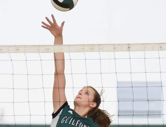Emma Appleman and the Guilford volleyball squad are a perfect 9-0 with a spot in states in the bag after collecting two more wins last week. Photo by Kelley Fryer/The Courier