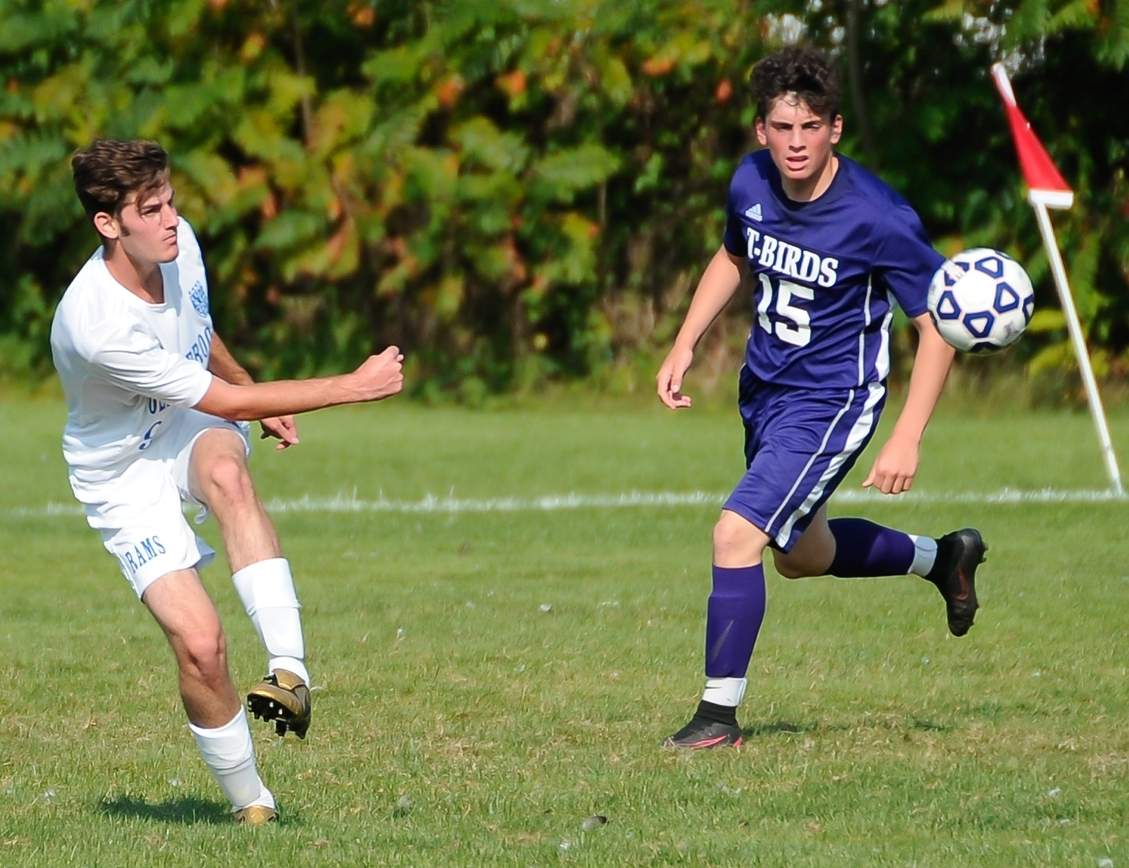 Sebastiano Gallitto and the Old Saybrook boys' soccer team qualified for the Class S State Tournament with their 7-0 win over Hale-Ray on Sept. 27. Photo by Kelley Fryer/Harbor News