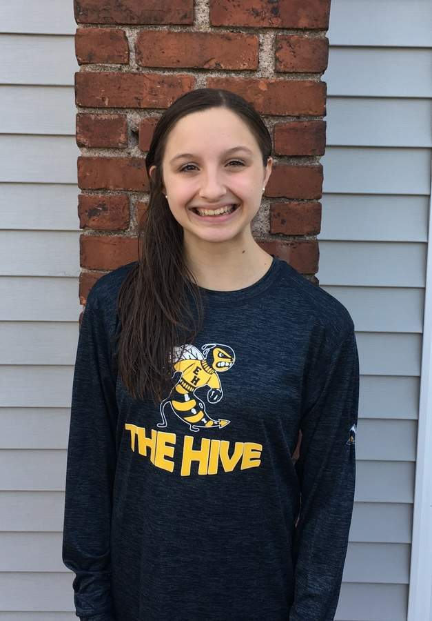 East Haven freshman Alora McCarroll has won the 100 breaststroke multiple times for the East Haven-Wilbur Cross girls' swimming and diving team this year, and she also helped the Yellowjackets earn their first victory in eight seasons. Photo courtesy of Alora McCarroll
