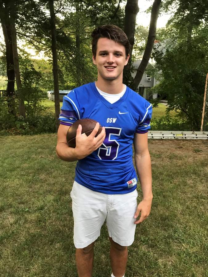 Victor Pascoe is showing his skills as a passer, rusher, and pass defender as a senior captain who plays quarterback and safety for Old Saybrook-Westbrook football squad. Thus far this fall, Victor and the Rams have jumped out to a 4-0 start. Photo courtesy of Victor Pascoe