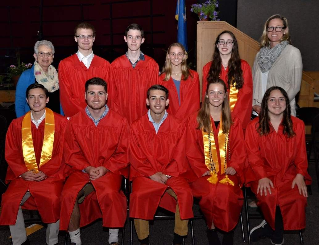 From left in the front row are Branford Community Foundation scholarship winners James Dering, Noah Pantani, Julia Howard-Flanders, and Alyssa Parzych and (back) Aleksandras Karosas, Nathaniel Jarvie, Oliva Datre, and Ashley Roding. Not pictured are Solenne Smith, Michael Vaccaro, Dalton Childs, Karina Khoultchaeva, Spencer Mariotti, and Louis Orifice. Photo by William O'Brien