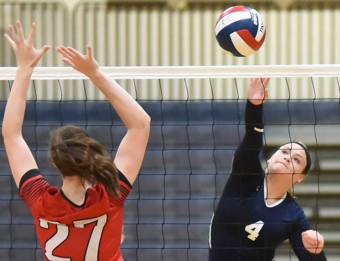 Senior captain Summer Onorato was a leader last week in the kills department for the East Haven volleyball team last week. Photo by Kelley Fryer/The Courier