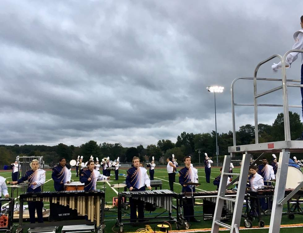 Drum Major Collin Ouellette and the rest of the East Haven High School Co-Op Marching Band shone brightly on an overcast day in Rocky Hill. Photo courtesy of Jeryl Massini-Ryan