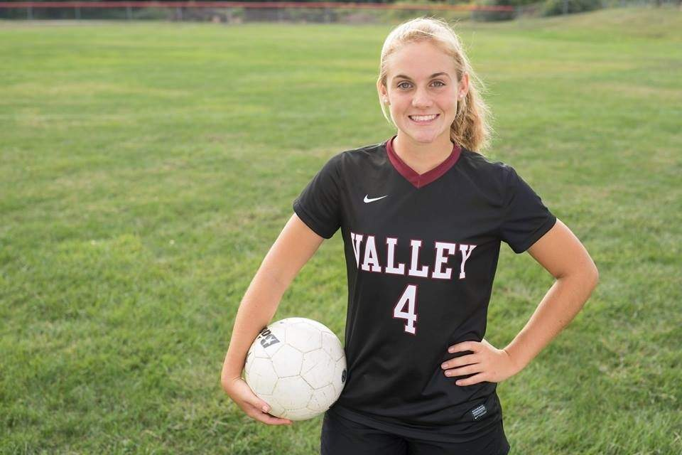 Even though she's relatively new to the sport compared to many of her teammates, senior captain Bonnie Caulfield plays stellar defense for the Valley Regional girls' soccer team. Photo courtesy of Kelly Tonks