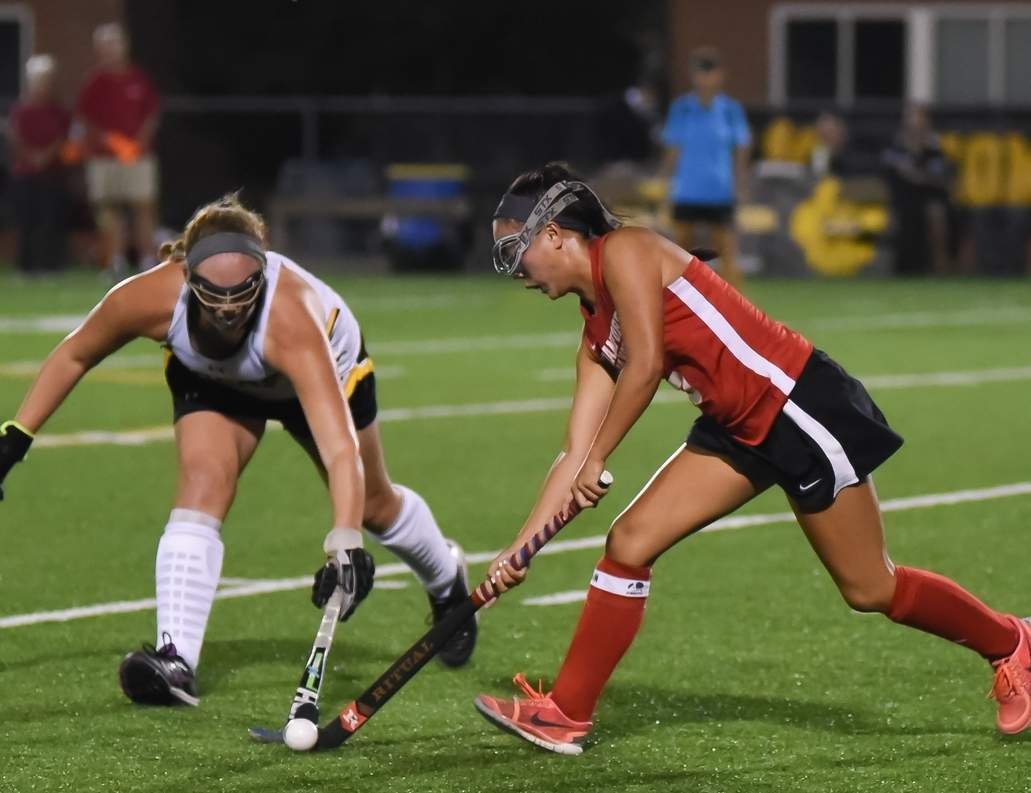 LanLe Crotty and the Branford field hockey team improved to 10-1-0-1 by earning wins against North Haven, Lyman Hall, and Stonington last week. Cathy McGuirk picked up her 550th career win as head coach of the Hornets in their 7-1 win versus Lyman Hall on Oct. 13. Photo by Kelley Fryer/The Sound