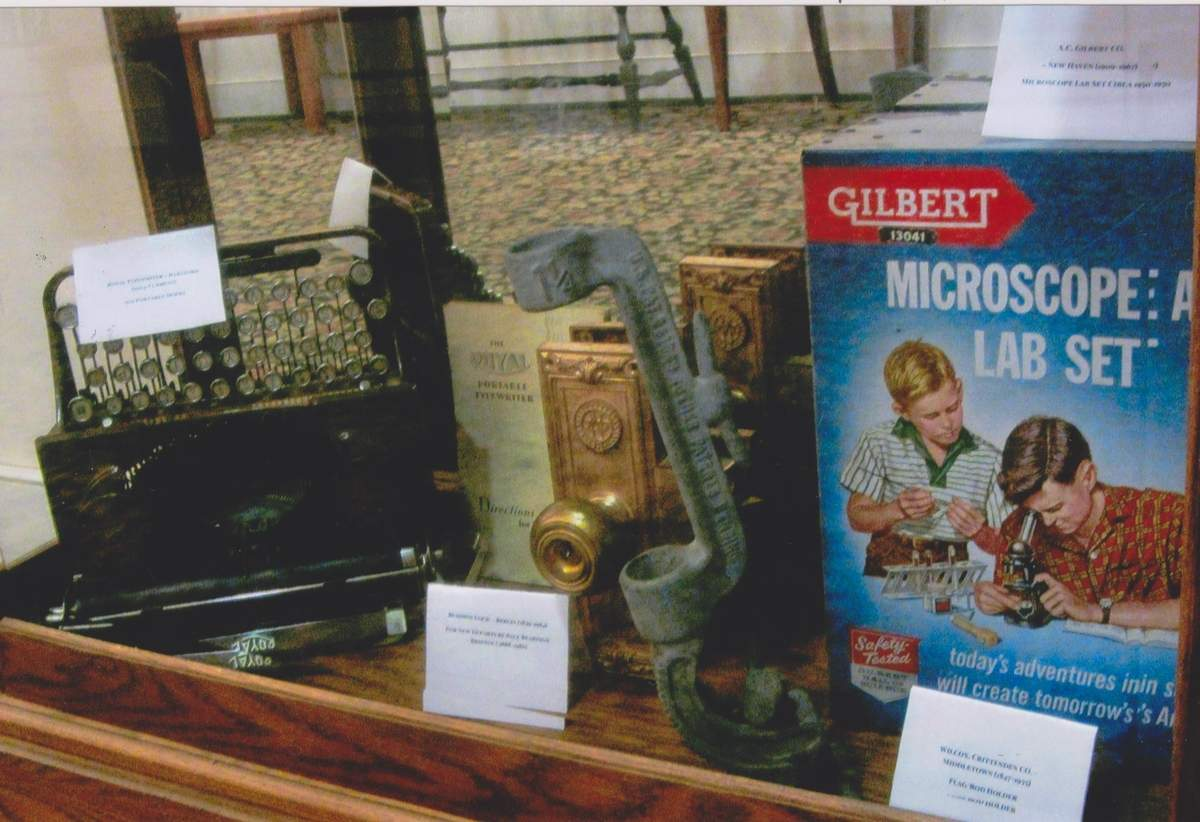 Connecticut-made typewriters and toys are among the treasures on display at the Acton Library in Old Saybrook. Photo courtesy of the Old Saybrook Historical Society