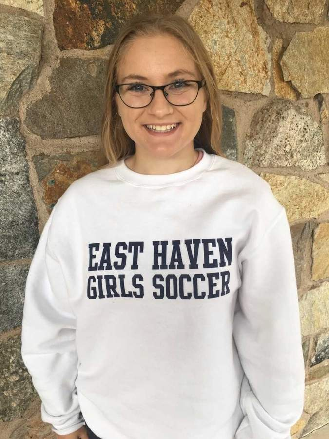 East Haven senior Jessica Reid is displaying her leadership by staying in constant communication with her teammates on the Yellowjackets' girls' soccer team this season. Photo courtesy of Jessica Reid