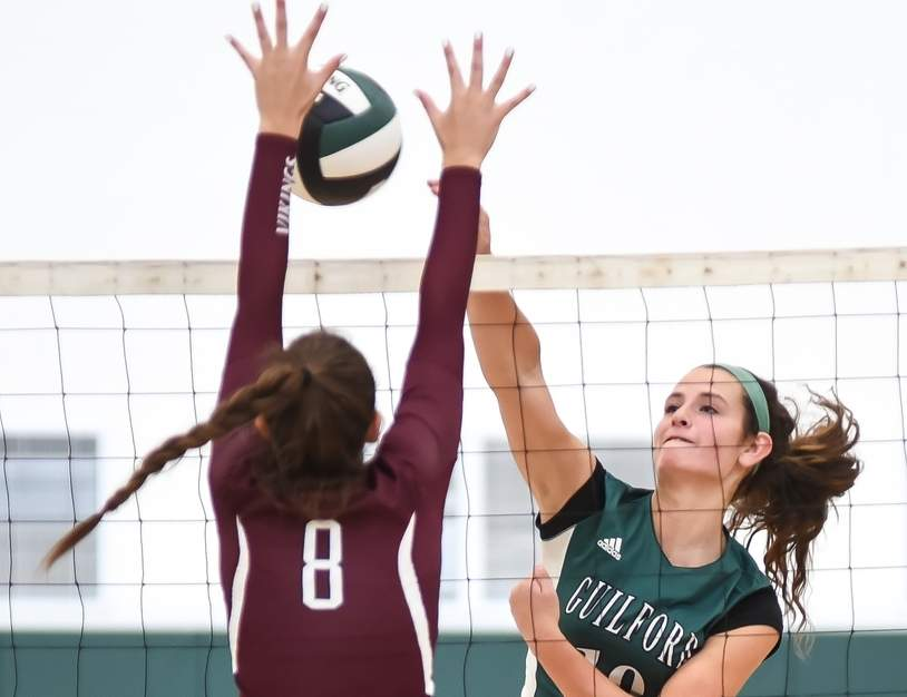 Amanda King and the Guilford volleyball team swept all three of their matches last week to move to 17-1 overall and finish 8-0 in the SCC Oronoque Division, netting the Indians a division title. Photo by Kelley Fryer/The Courier