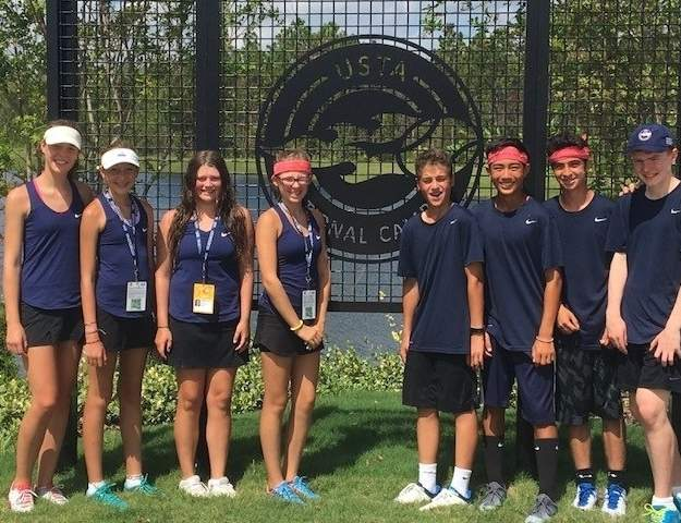 Pictured from the MADRackets are Drew Williams (Guilford), Ava Esposito (Branford), Isabella Vejar (Madison), Lindsay Riordan (Madison), David Levchenko (Madison), Sebastien Lowy (Madison), Nicholas Celotto (Guilford), and Rufus McCleery (Guilford). Photo courtesy of Madison Racquet and Swim Club