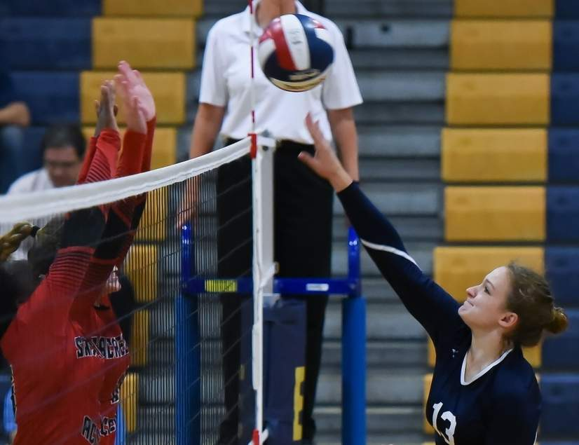 Diana Kalman and the East Haven volleyball team moved to 14-4 by netting wins over Lyman Hall, Woodland, and Wilbur Cross last week. Photo by Kelley Fryer/The Courier