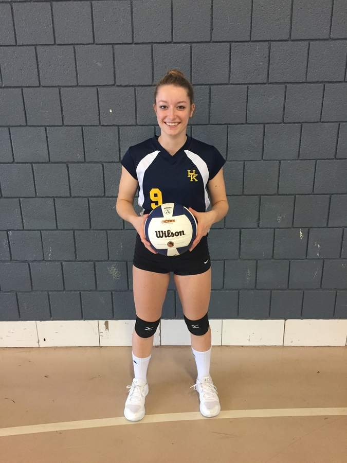 Senior captain Kate Porter helped the Haddam-Killingworth volleyball team withstand a rough patch of injuries to notch 15 wins thus far this fall. Photo courtesy of Kate Porter