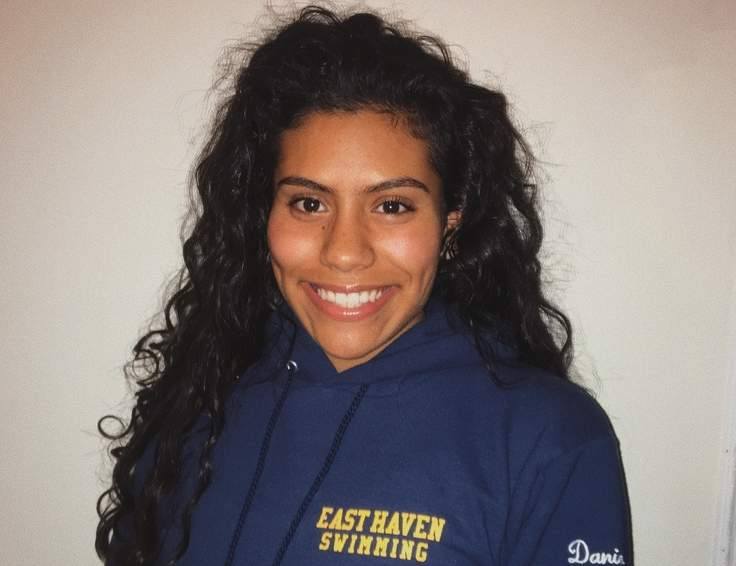 Sophomore Daniela Bedoya is meshing with her teammates quite nicely in her first season as a member of the East Haven-Wilbur Cross co-op girls' swimming team.  Photo courtesy of Daniela Bedoya
