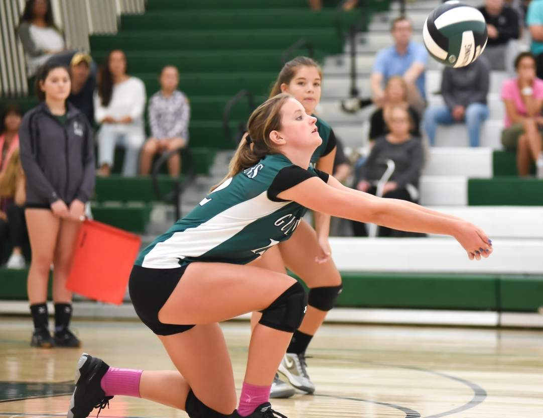 Emma Appleman has emerged as a freshman standout this year for the Guilford volleyball team, which went 18-2 for its best regular season record in program history. Photo by Kelley Fryer/The Courier