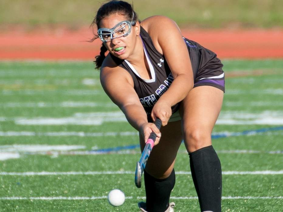 Adriana Perez and the North Branford field hockey squad capped off their undefeated regular season with a 1-0 victory over Waterford on Oct. 26. Photo by Kelley Fryer/The Sound