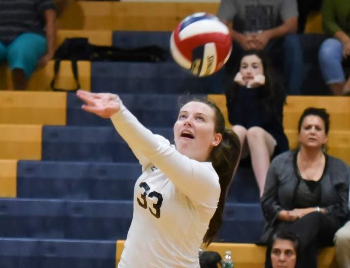 Megan Roberts and the East Haven volleyball team went 16-4 for the regular season and then rallied from a two-set deficit to edge Shelton 3-2 in the first round of the SCC Tournament. Photo by Kelley Fryer/The Courier