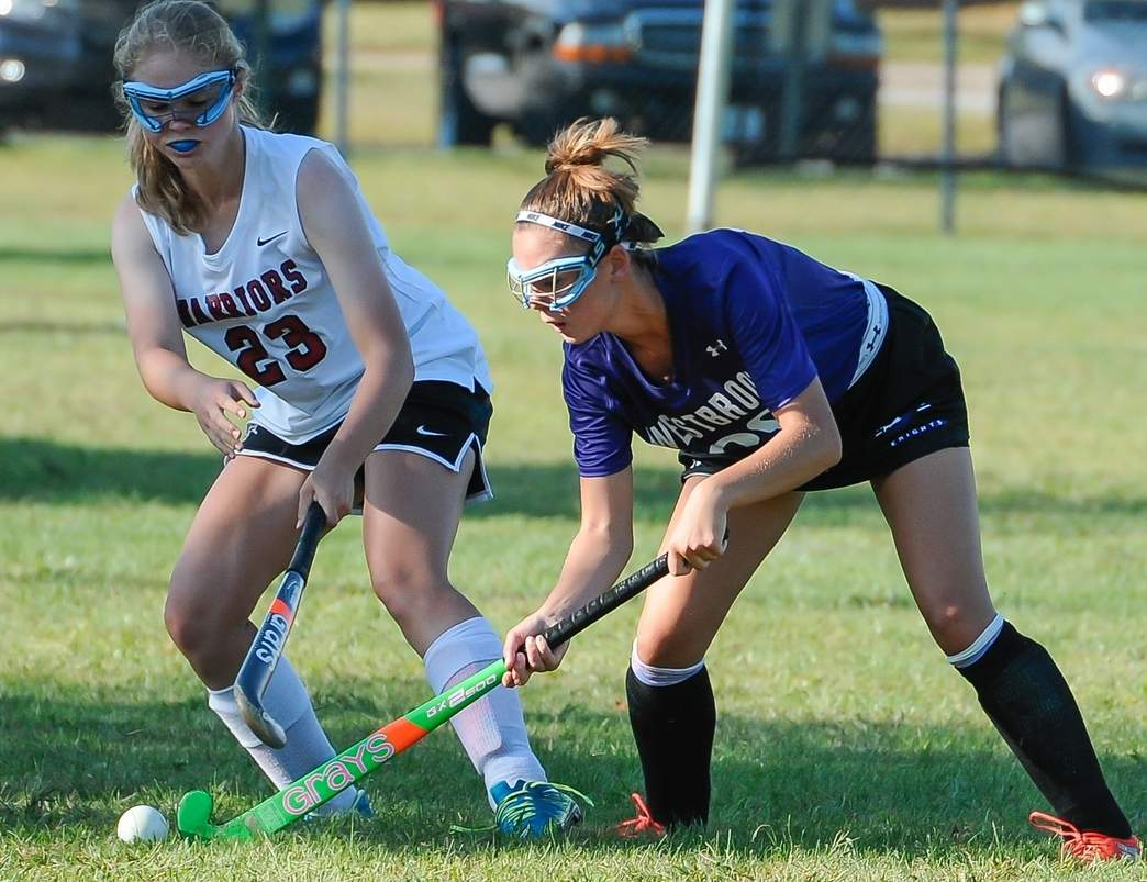 Kendall Orlowski (right) and the Westbrook field hockey team grabbed a win and a tie last week as they wrapped up the regular season with a record of 8-3-5. Photo by Kelley Fryer/Harbor News