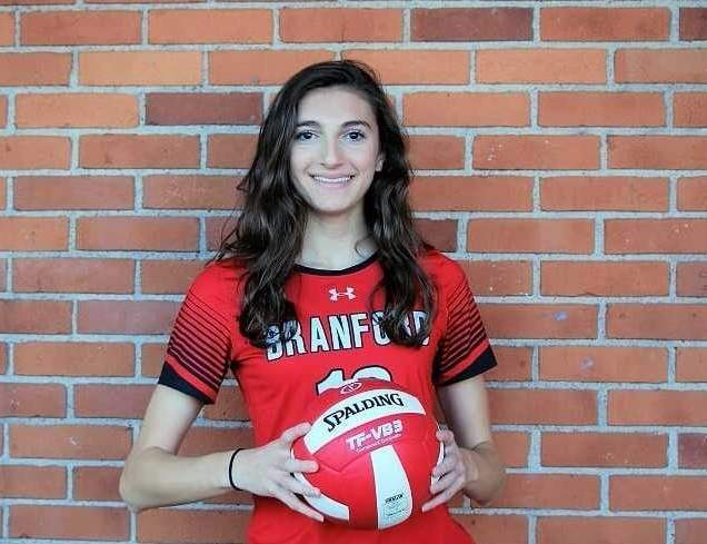 Haley Maercklein is contributing to the success of the Hornets' volleyball team on offense, defense, and as a captain this fall. Haley also plays lacrosse at Branford High School, where she's a member of the National and World Language honor societies. Photo courtesy of Haley Maercklein