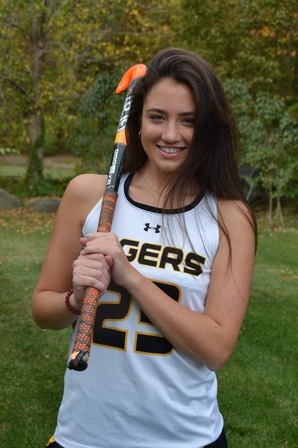 Abi Barry has contributed to nine shutouts as a senior captain defender for the Tigers' field hockey team, which recently completed the 2017 regular season with a record of 13-1-2. Photo courtesy of Abi Barry