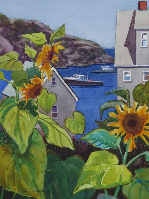 "Sunflowers On Monhegan, watercolor, 14"" X 10"" and framed 23"" X 19."" Joan McPherson"
