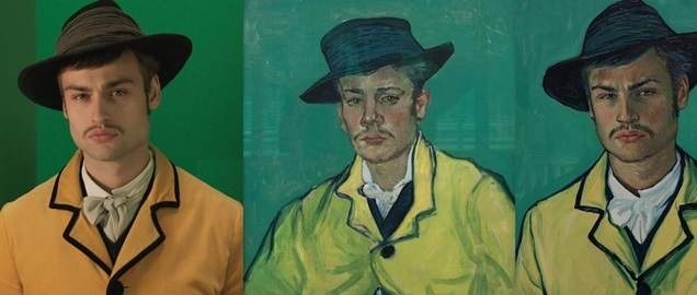 Vincent Van Gogh's portrait of Armand Roulin (center) comes to life when actor Douglas Booth's photograph is oil-painted over and animated for the groundbreaking film, Loving Vincent.  Photo courtesy of Tabulous Design, Copyright Good Deed Entertainment, Breakthru and Trademark Films