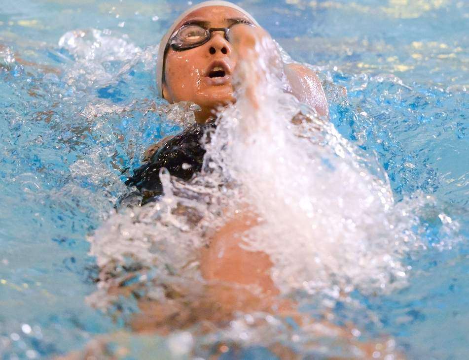 Laura Rosado finished second in the 100 backstroke and took fifth place in the 100 butterfly to lead the way for the East Haven-Wilbur Cross girls' swimming squad at last week's SCC Championship. Photo by Kelley Fryer/The Courier