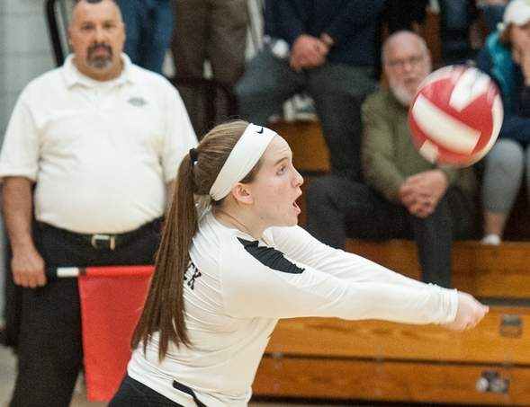 Senior libero Alex Figuenick and the Valley volleyball team swept Hale-Ray in the Shoreline semifinals to reach the championship game, where the Warriors took a 3-1 loss to Haddam-Killingworth at Cromwell High School on Nov. 4. Photo by Susan Lambert/The Courier