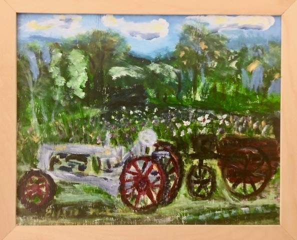 Tractor, North Guilford, acrylic by Mark Weaver